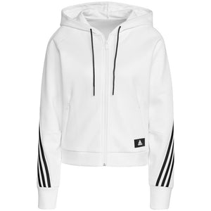adidas Women's 3-Stripes Full Zip Hoodie - White