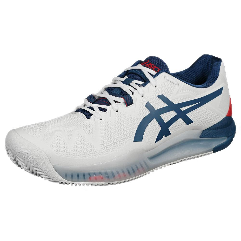 Asics Men's Gel-Resolution 8 - Clay - White/Mako Blue