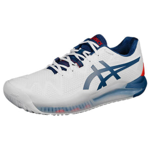 Asics Men's Gel-Resolution 8 - Wide Width 2E - White/Mako Blue