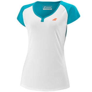 Babolat Girls Play Cap Sleeve Top - White/Blue