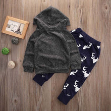 Load image into Gallery viewer, Reindeer Hooded Sweatshirt Set