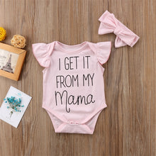 Load image into Gallery viewer, I Get It From My Mama Bodysuit with Matching Bow Headband