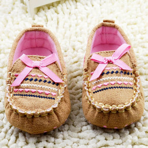 Embroidered Moccasin with Pink Ribbon