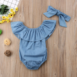 Sharna Chambray Jumpsuit with Matching Bow