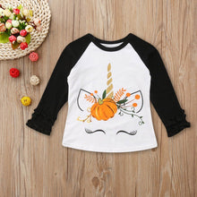 Load image into Gallery viewer, Fall Unicorn Ruffle Sleeve Top