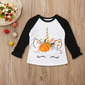 Fall Unicorn Ruffle Sleeve Top