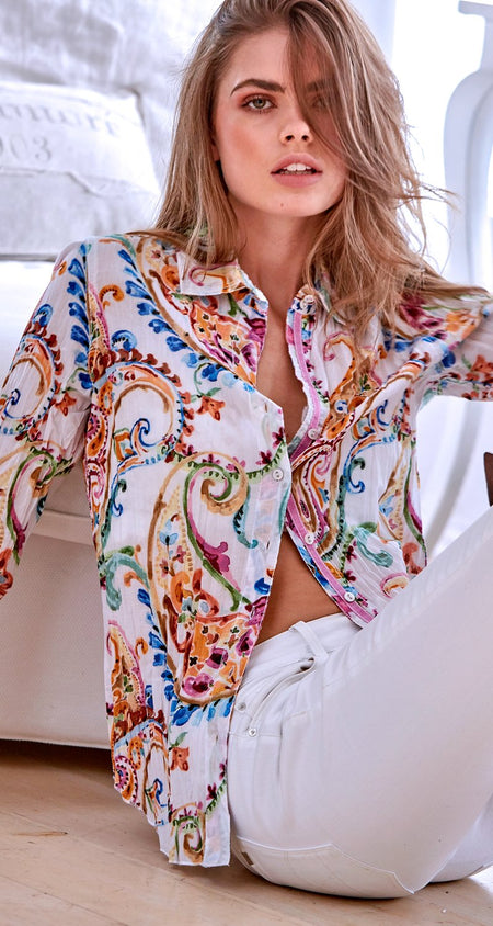 WISTERIA EMBROIDERY BLUSH BUTTON DOWN SHIRT