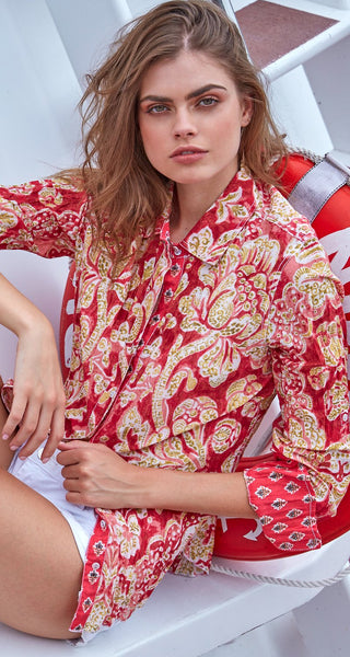 MARTINIQUE CORAL BUTTON DOWN SHIRT
