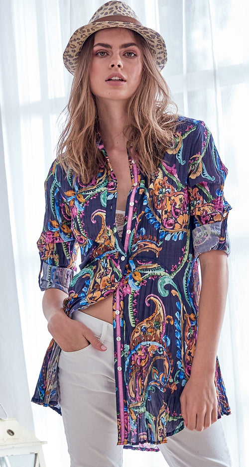 A model wears a CINO St Croix Indigo Fit & Flare tunic