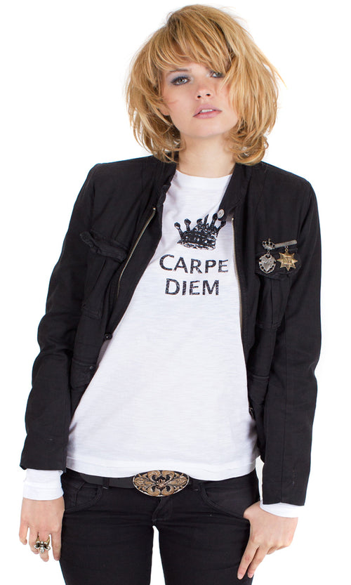 100% cotton slub jersey tee with carpe diem print.