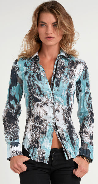 DISTRESSED ANIMAL SILVER BLUE BUTTON DOWN SHIRT