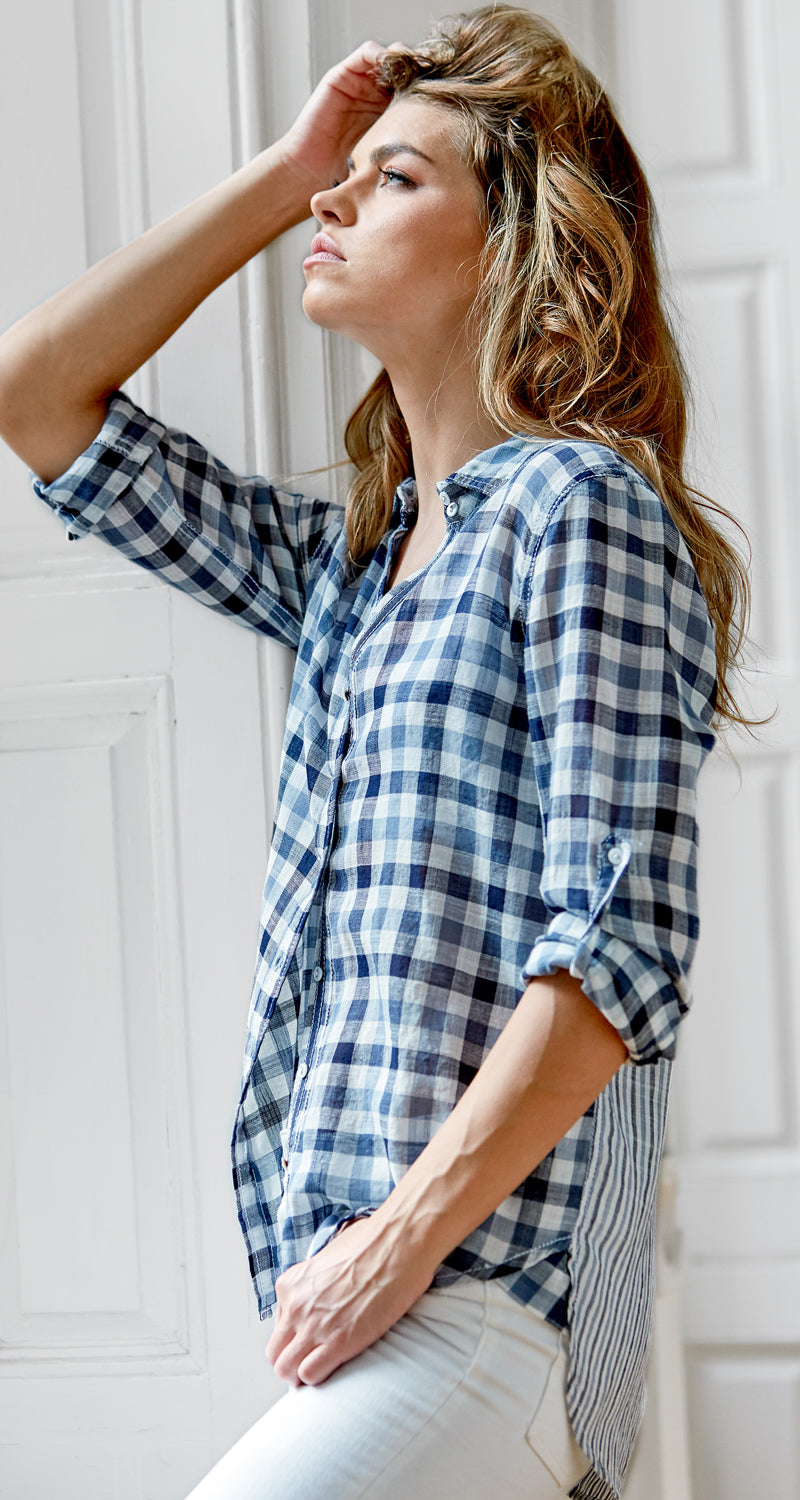 A model wears a CINO Check Indigo button-down relaxed shirt.
