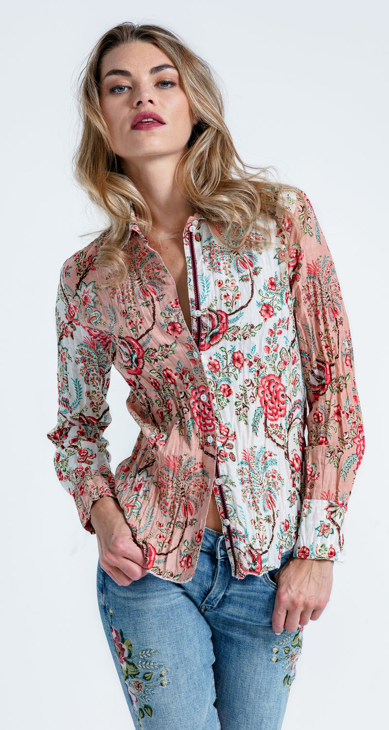 A model wears a CINO Heirloom Floral Mix button-down shirt
