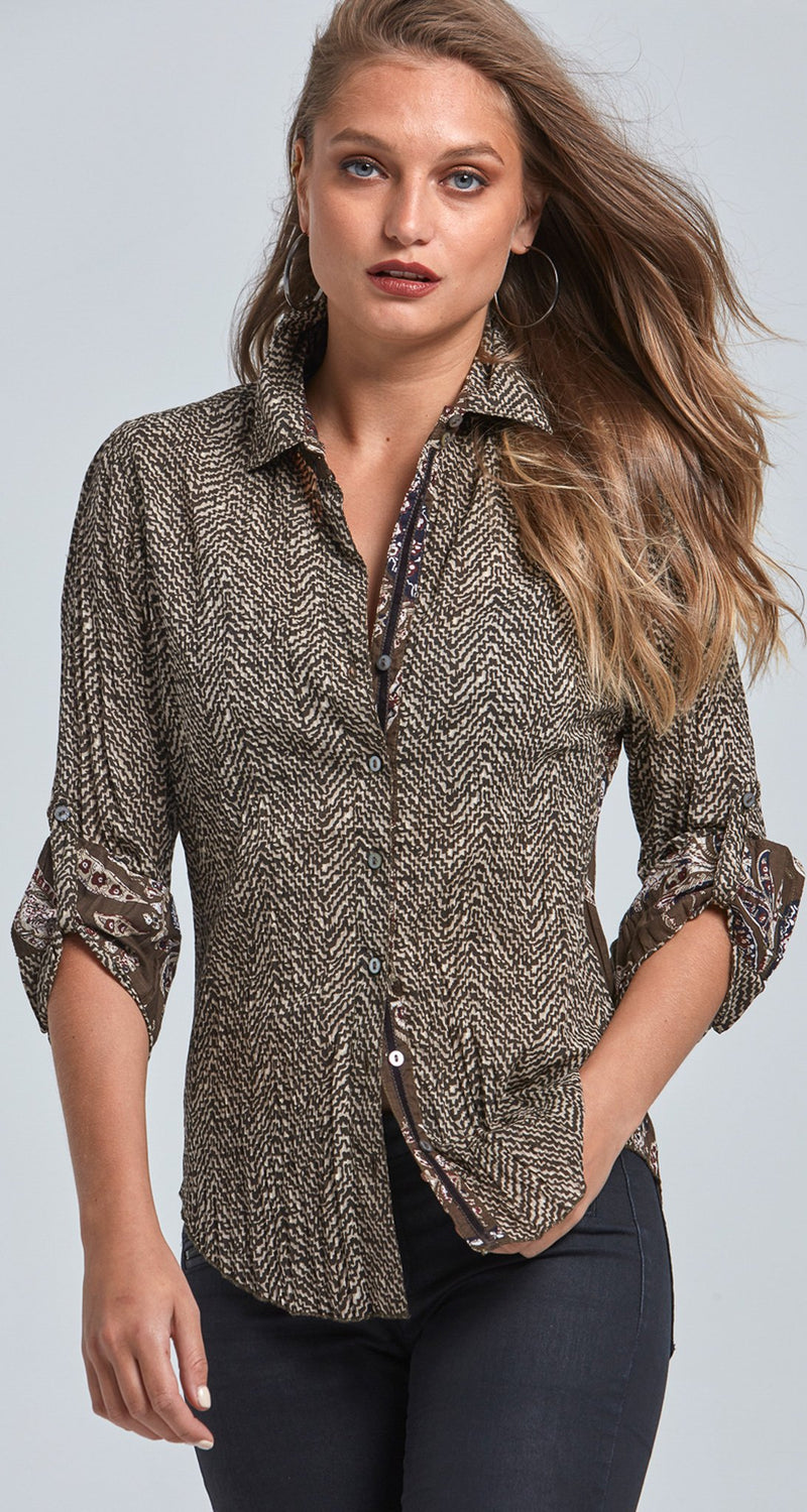 A model wears a CINO Texture button-down shirt.
