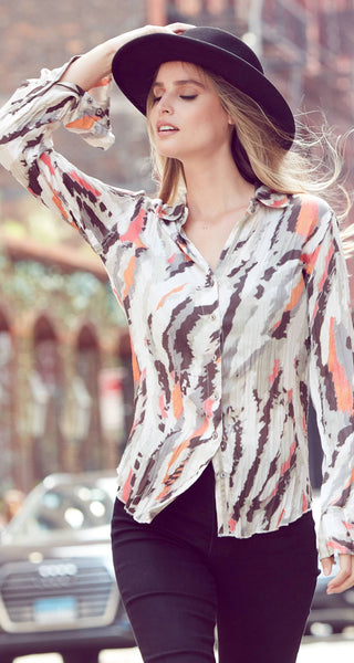 A model wears a CINO Abstract button-down shirt.