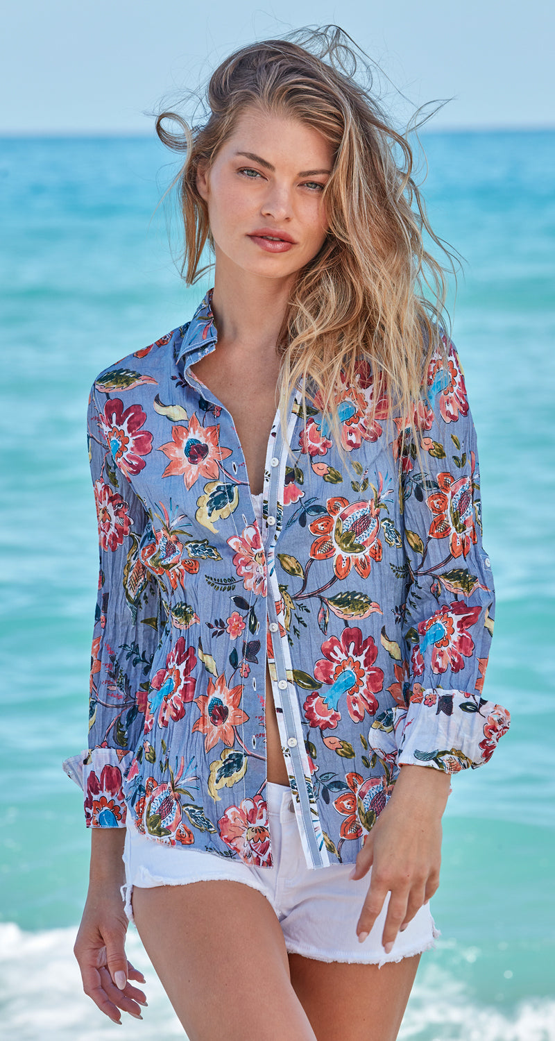 TIKI VINTAGE BLUE BUTTON DOWN SHIRT