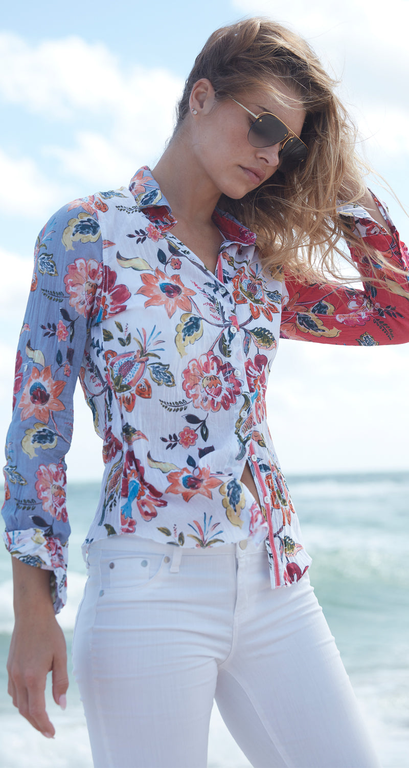 TIKI MIX BUTTON DOWN SHIRT