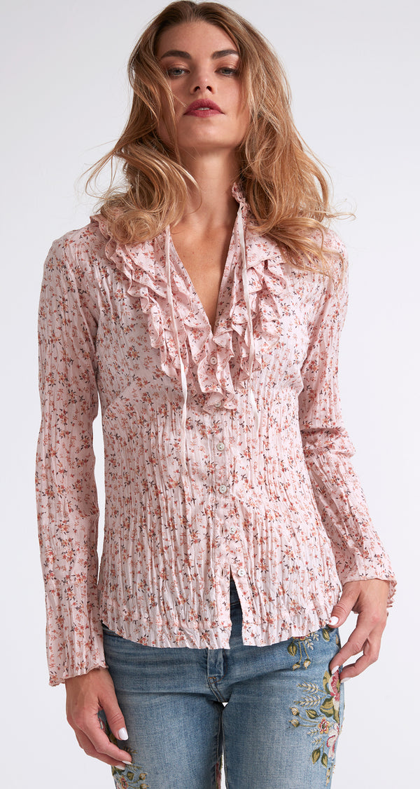 OSTUNI DITSY RUFFLE BUTTON DOWN SHIRT