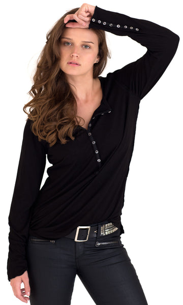 BLACK KNIT HENLEY