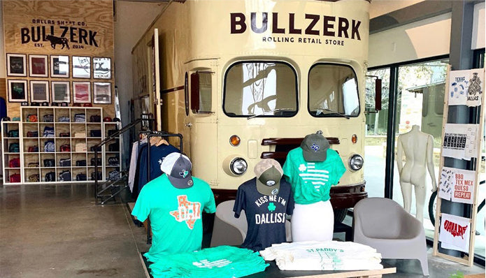 Bullzerk located at Grandscape in The Colony, Texas. Local Dallas t-shirt store.