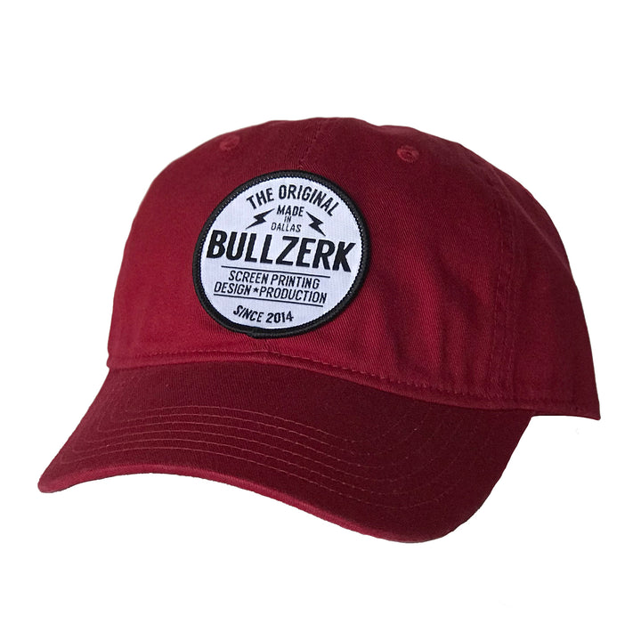 Red patched hat with Bullzerk logo from Dallas Fort Worth