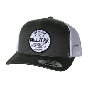 Grey curved patched hat with Bullzerk logo from Dallas TX