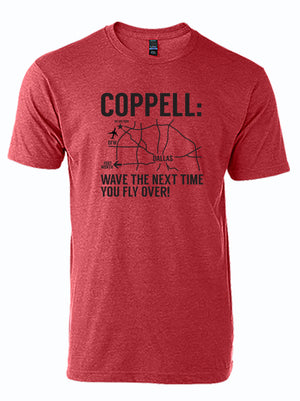 "red tshirt with black drawing of a map of Dallas with text: ""Coppell: wave the next time you fly over"""