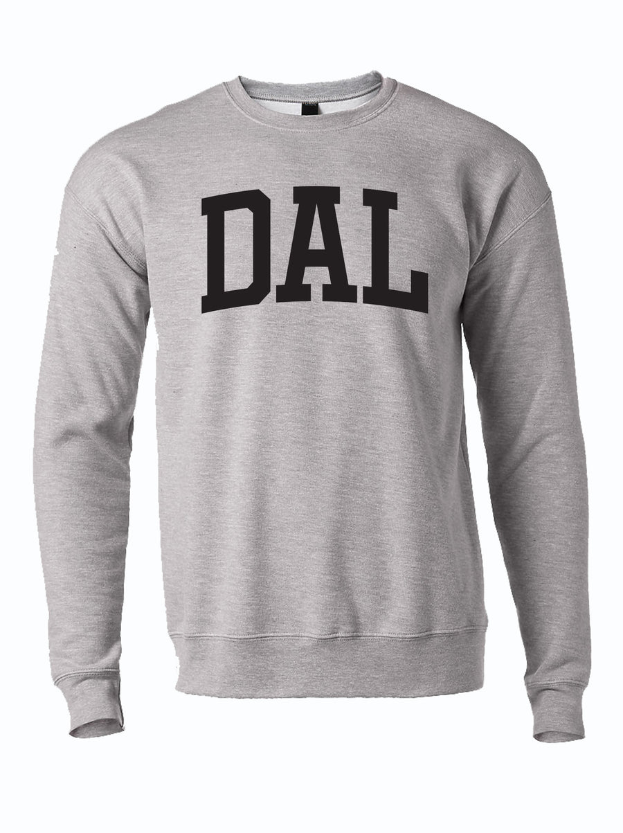 "gray crewneck sweater with text ""DAL"" in Dallas Texas"