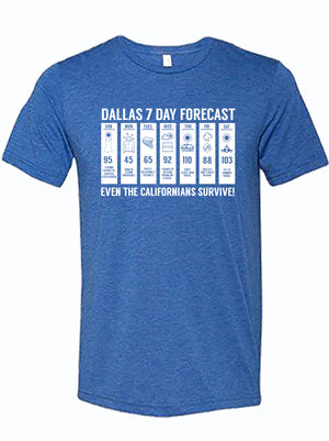 royal tshirt with design of weather forecast of Dallas Texas from Bullzerk