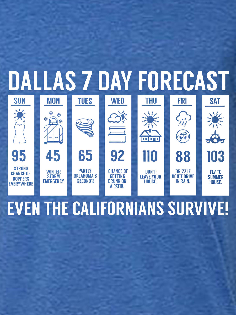 royal tshirt with design of weather forecast with funny sayings