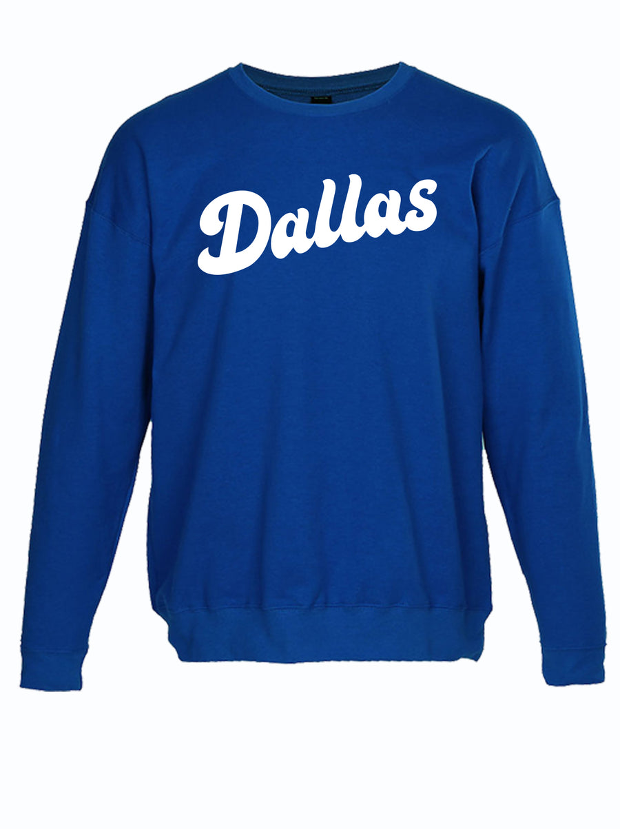 "royal blue crewneck sweater with script text ""Dallas"" from Bullzerk in Plano"