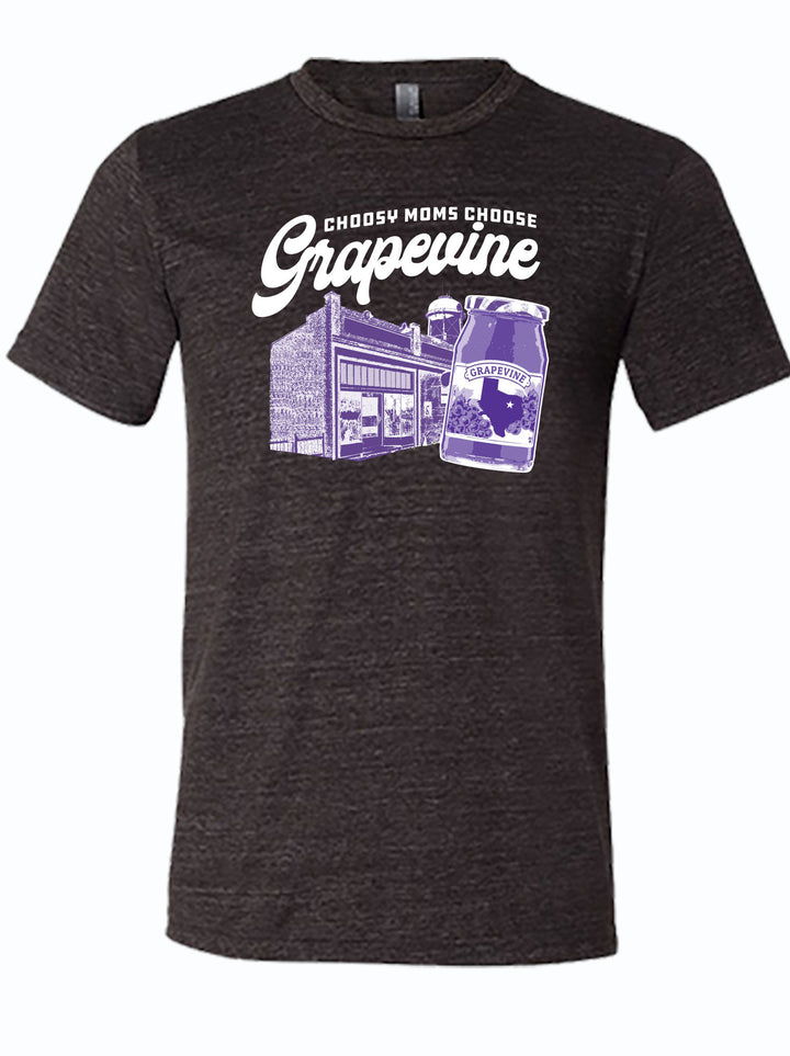 "Charcoal tshirt with text ""Choosy moms choose Grapevine"" and image of jelly jar"