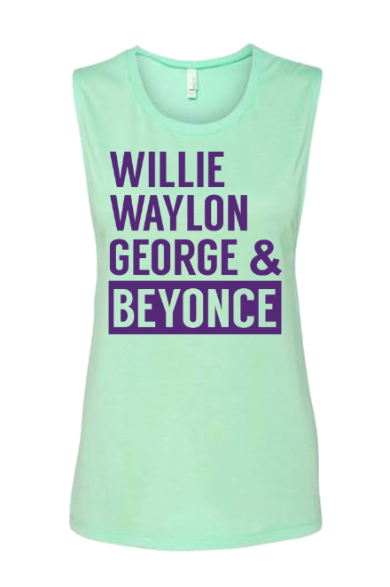 Women's Willie Waylon George & Beyonce Muscle Tank - Bullzerk