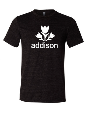 Addison Texas shirt that is black and white with a tulip on it