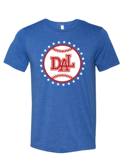 Baseball shirt that says DAL in Dallas TX that is blue red and white