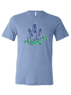 Blue shirt that says Dallas that has Texas Bluebonnets on it from Bullzerk