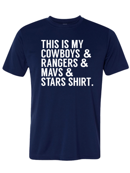 Kids- This is my Cowboys, Rangers, Mavs and Stars Shirt