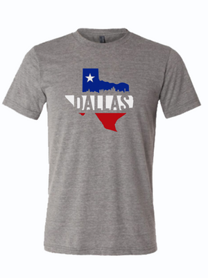 Dallas Texas silhouette in red white and blue with a star