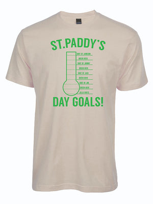 cream colored tshirt with goal thermometer titled St. Paddy's Day Goals
