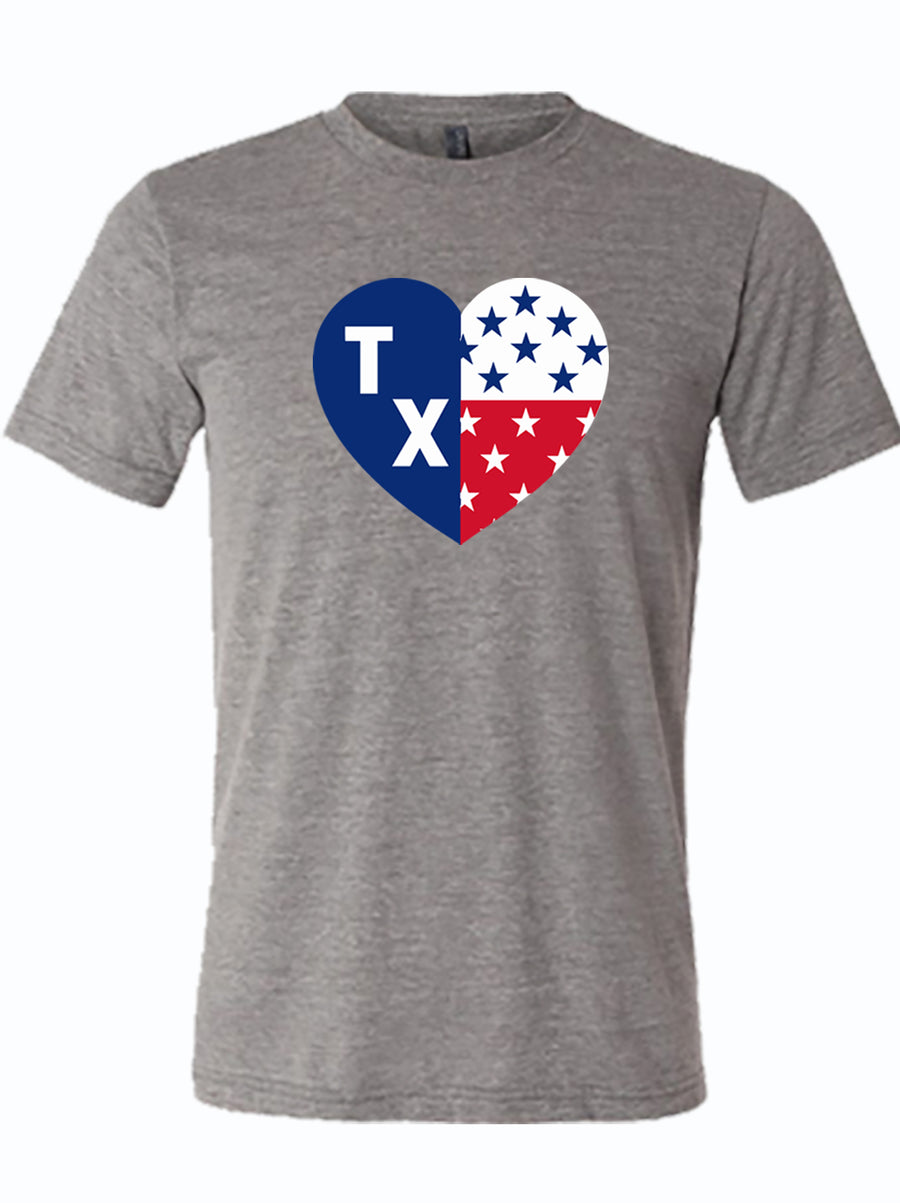 gray tshirt with heart shaped tx flag with stars and letters TX