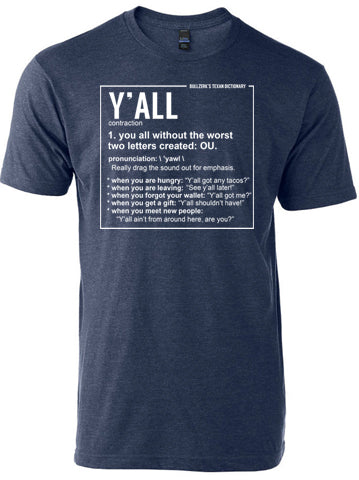 denim colored tshirt with a funny definition of the word y'all