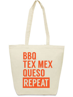 BBQ Tex Mex Queso Repeat Canvas tote bag from Bullzerk in DFW