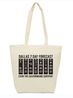 Dallas 7 day forecast canvas tote bag