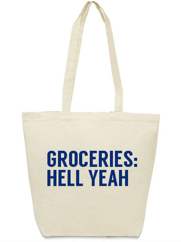 Groceries hell yeah canvas tote bag