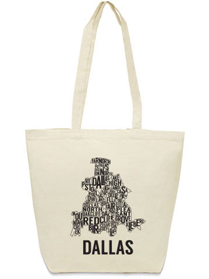 Dallas neighborhoods canvas bag