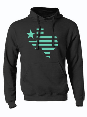 charcoal hoodie with texas silhouette striped design