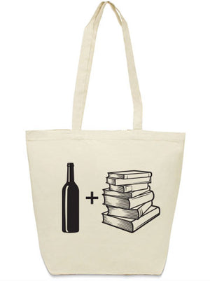 wine and books tote bag