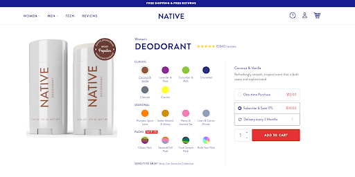 Optimized product page for eCommerce