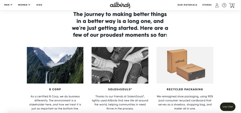 allbirds our story page