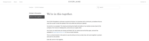 Everlane COVID-19 Dedicated Information page
